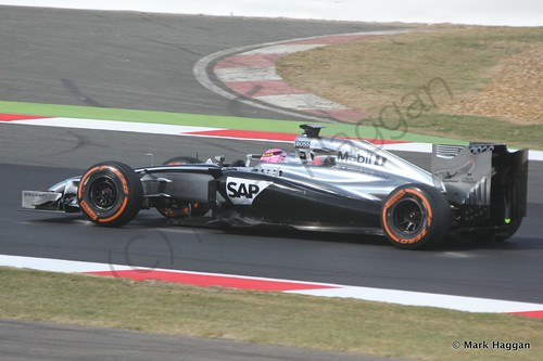 Jenson Button during Free Practice 1 at the 2014 British Grand Prix