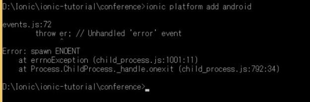 Ionic Framework - Error: spawn ENOENT