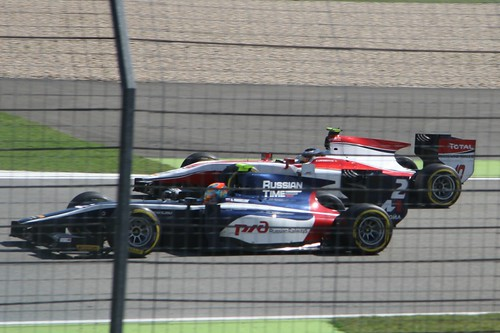 Artem Markelov and Stoffel Vandoorne in GP2 qualifying at the 2014 German Grand Prix