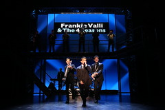 (l to r) John Rochette, Hayden Milanes, Tammaso Antico and the company in the Broadway Sacramento presentation of JERSEY BOYS at the Community Center Theater Nov. 5 – 22, 2014. Photo by Joan Marcus.