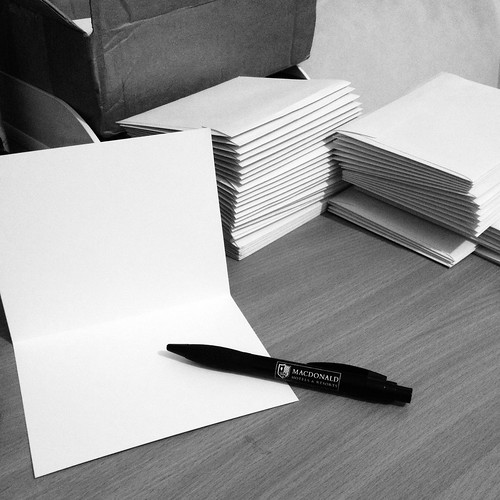 Today is all about...card writing