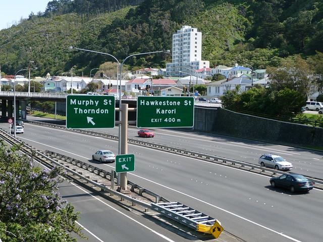 Motorway Wellington New Zealand Sign
