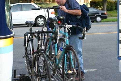 Bikes on bus bike rack