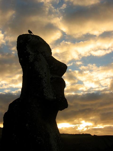 Crying Moai and Bird2
