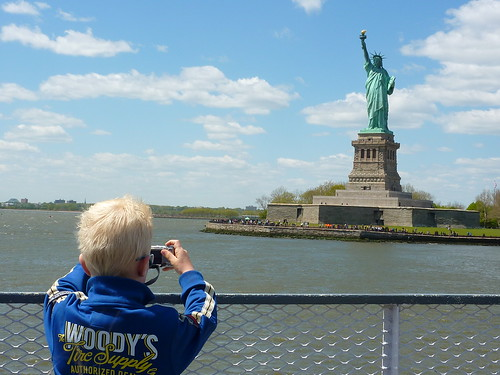 Taking pictures of Statue of Liberty