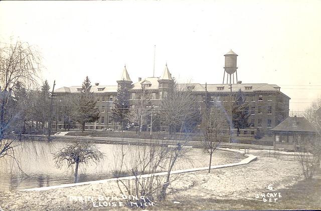 Eloise MI Main Bldg for Eloise Insane Asylum & Poorhouse, Farm & Hospital 1911 RPPC Photographer JH Cave