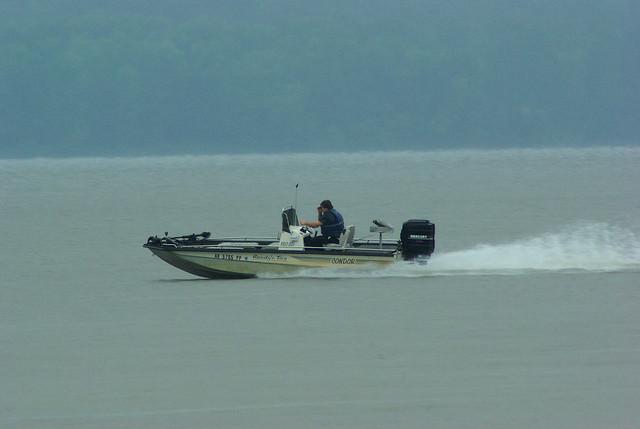 Speeding Bass Boat, Lake Dardanelle State Park, Arkansas, August 10, 2008