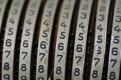 Mechanical Calculator with numbers showing