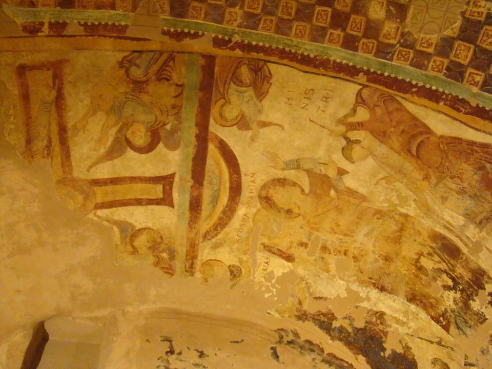 pinturas murales Martirio de los santos Cosme y Damian y la glorificacion de la cruz Iglesia Baja Mozarabe Monasterio de San Juan de la Peña Huesca 22