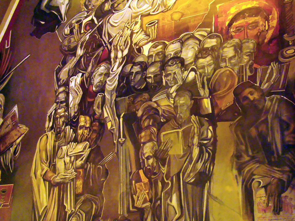 pintura mural frescos interior Iglesia de la Fortaleza de Tsarevets Veliko Tarnovo Bulgaria 05