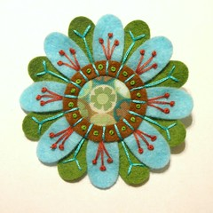 FELT AND FABRIC EMBROIDERED FLOWER BROOCH