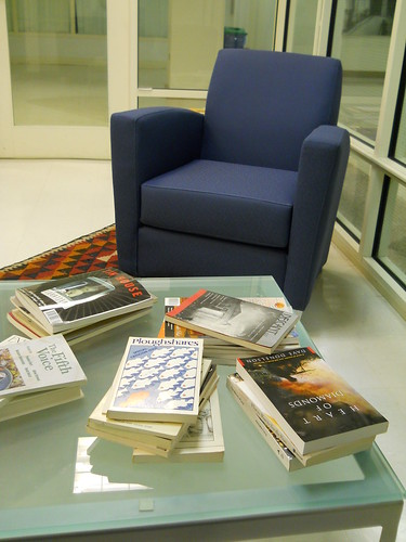 Inside the Writers Center: chair and books