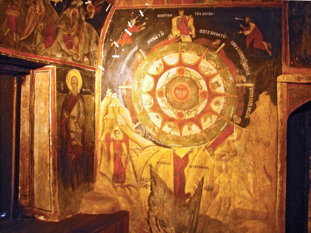Arbanassi pintura fresco La Rueda de la vida Iglesia de la Natividad de Cristo Bulgaria 19