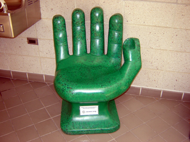 The Green Hand Chair  Recycled plastic PET bottles