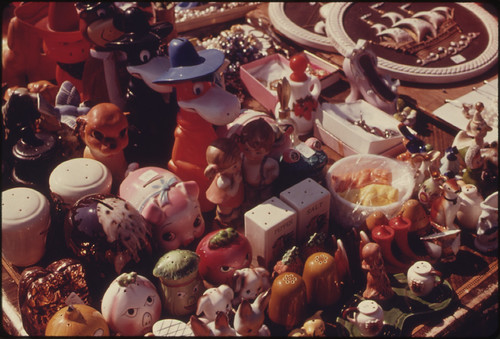Assortment of Salt and Pepper Shakers for Sale at a Flea Market in White Cloud, Kansas, near Troy...09/1974