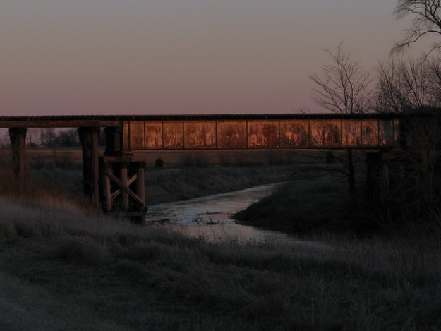 Old Train Bridge on the Little Vermilion River, Sidell, Illinois