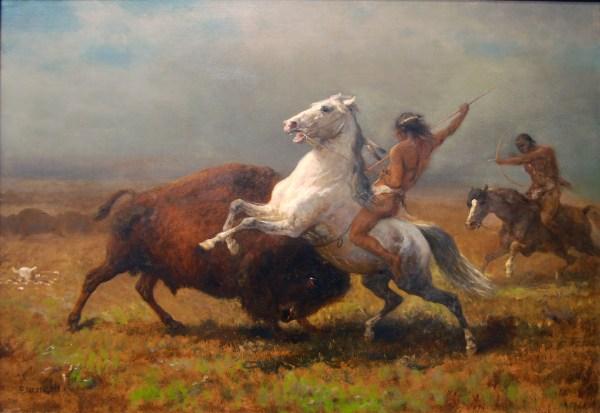 Indians Hunting Buffalo Circa 1888 - Sharing