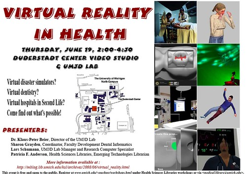 Virtual Reality in Health - Event poster