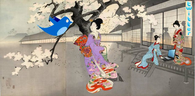 Twittering Haiku in the Garden at Night, after Chikanobu