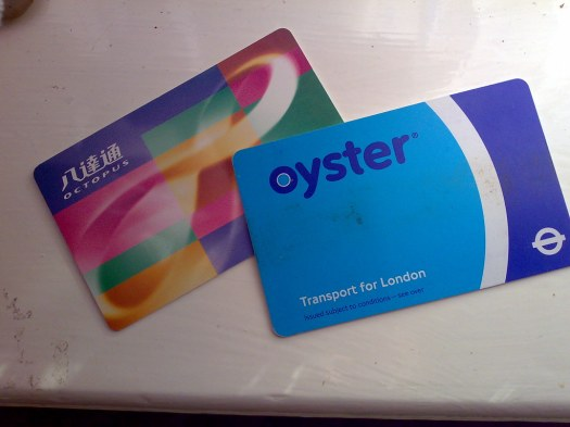 My Oyster card for LDN & my Octopus card for HKG