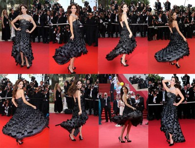 eugenia silva models ugly dress on the red carpet cannes film festival