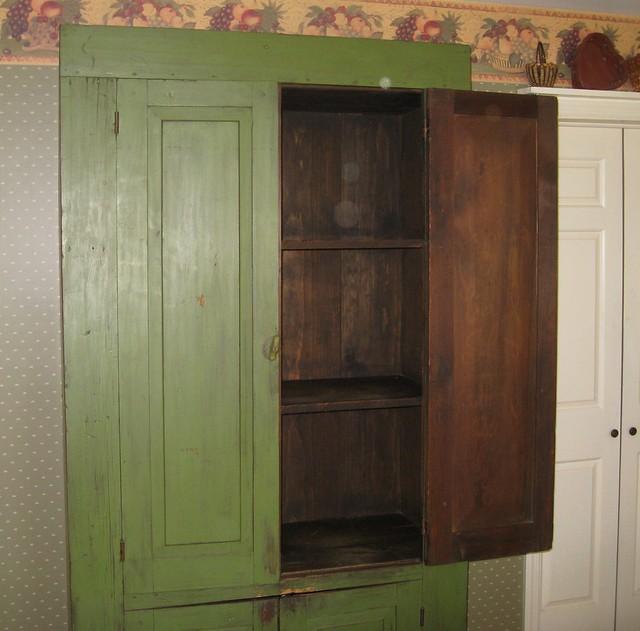 Antique green kitchen cabinet open half flickr photo sharing
