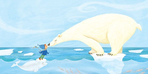 """Eskimo Kiss"" - Interior illustration for Santa Goes Green"