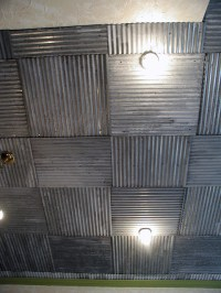 Corrugated metal ceiling