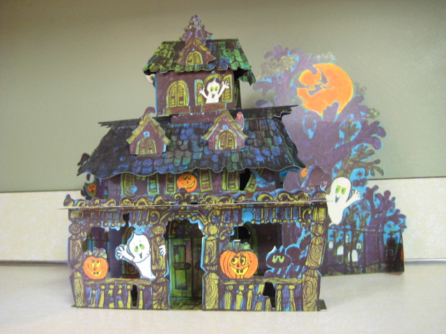 Vintage Halloween Haunted House Trick Or Treat Paper Dec