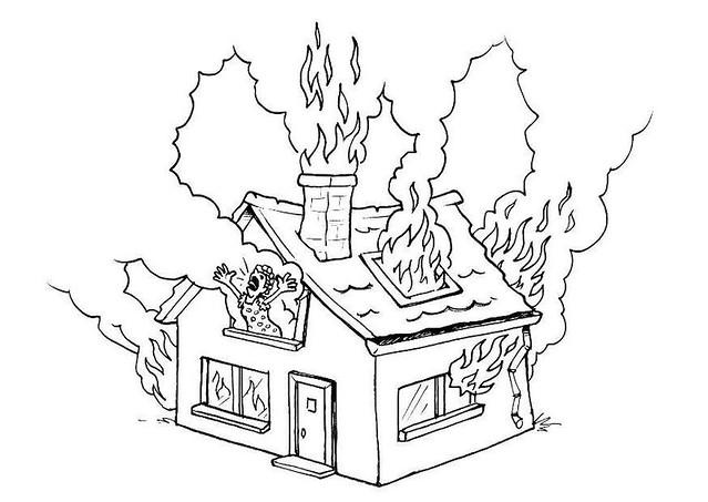 Brennendes Haus Ausmalbild   Heimidee