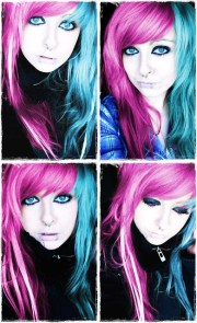 pink and blue emo scene hair style