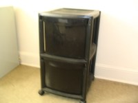 2-drawer black plastic rolling file cabinet (2.5' tall ...
