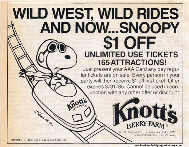 1984 Knott's ad Garage Sale Saturdays scan
