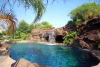 backyard, waterfall, swimming pool, spa, artificial rock ...