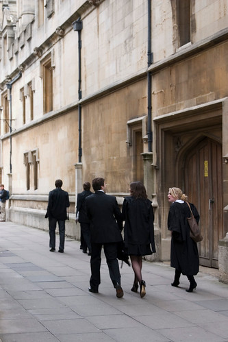 Oxford students walking to their exams