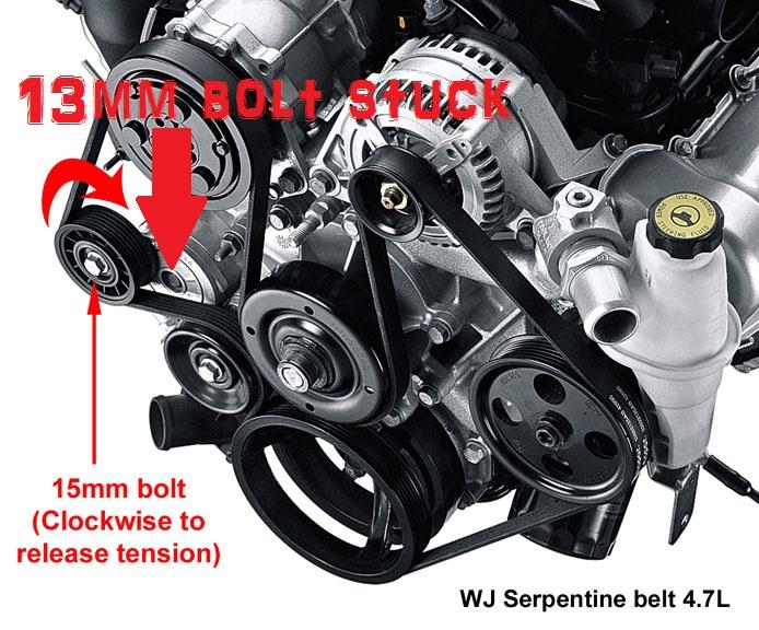 1999 dodge ram 1500 front axle diagram 2005 subaru forester stereo wiring wj 4.7l belt tensioner assembly bolt - jeepforum.com