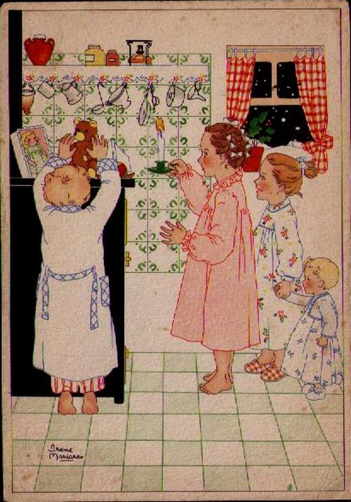 Irene Mariares, Christmas postcard, 1940s