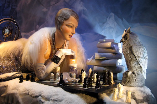 NYC: Bergdorf Goodman's 2008 Holiday window display - Chess vs. an owl by wallyg