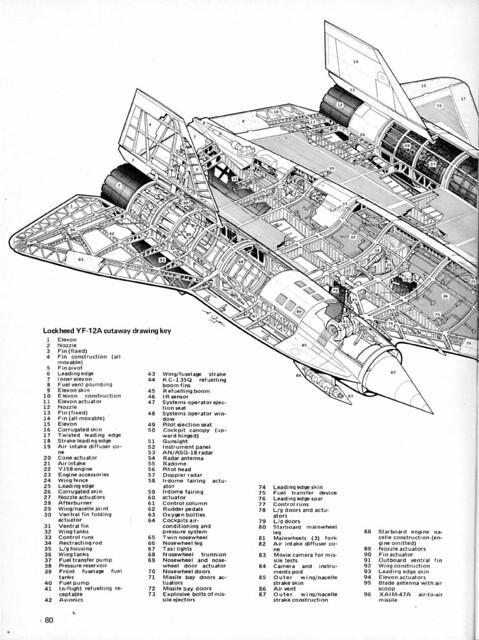 Lockheed YF-12A, A-11,SR-71 Blackbird cutaway,rear