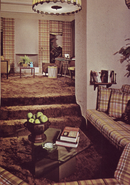 Plaid Banquette and a shag carpet  Caption reads A