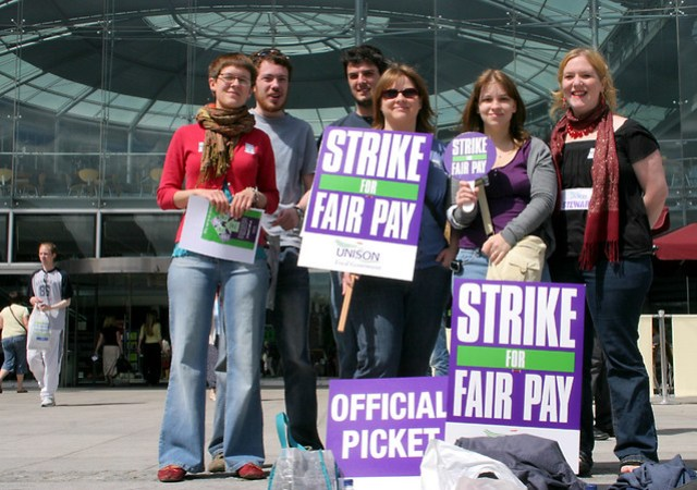 Library workers on the first day of their strike picket the Forum, Norwich