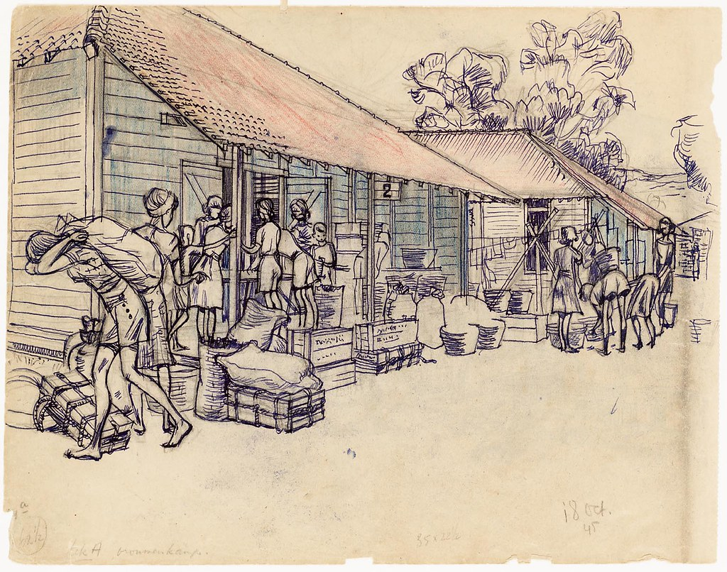 Japanese Occupation In Indonesia Internment Camp Drawing