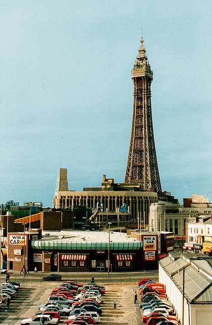 Blackpool Tower painted gold for its centenary year in 199
