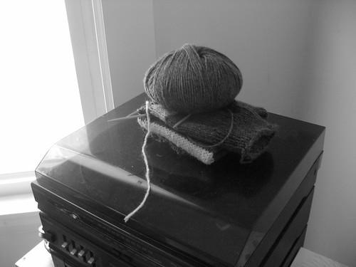 Yarn skein on record player