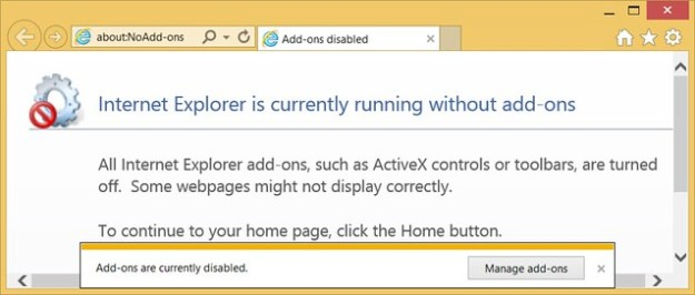 Internet Explorer is currently running without add-ons