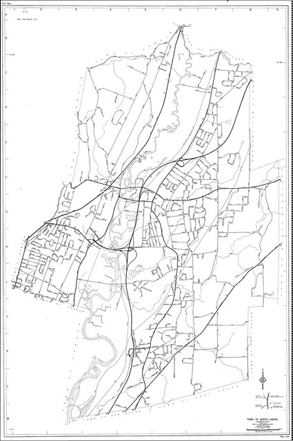 Town roads, North Haven, Connecticut Road Map 1973
