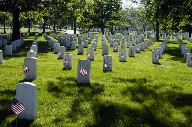 Flags on the graves at Arlington National Cemetery.