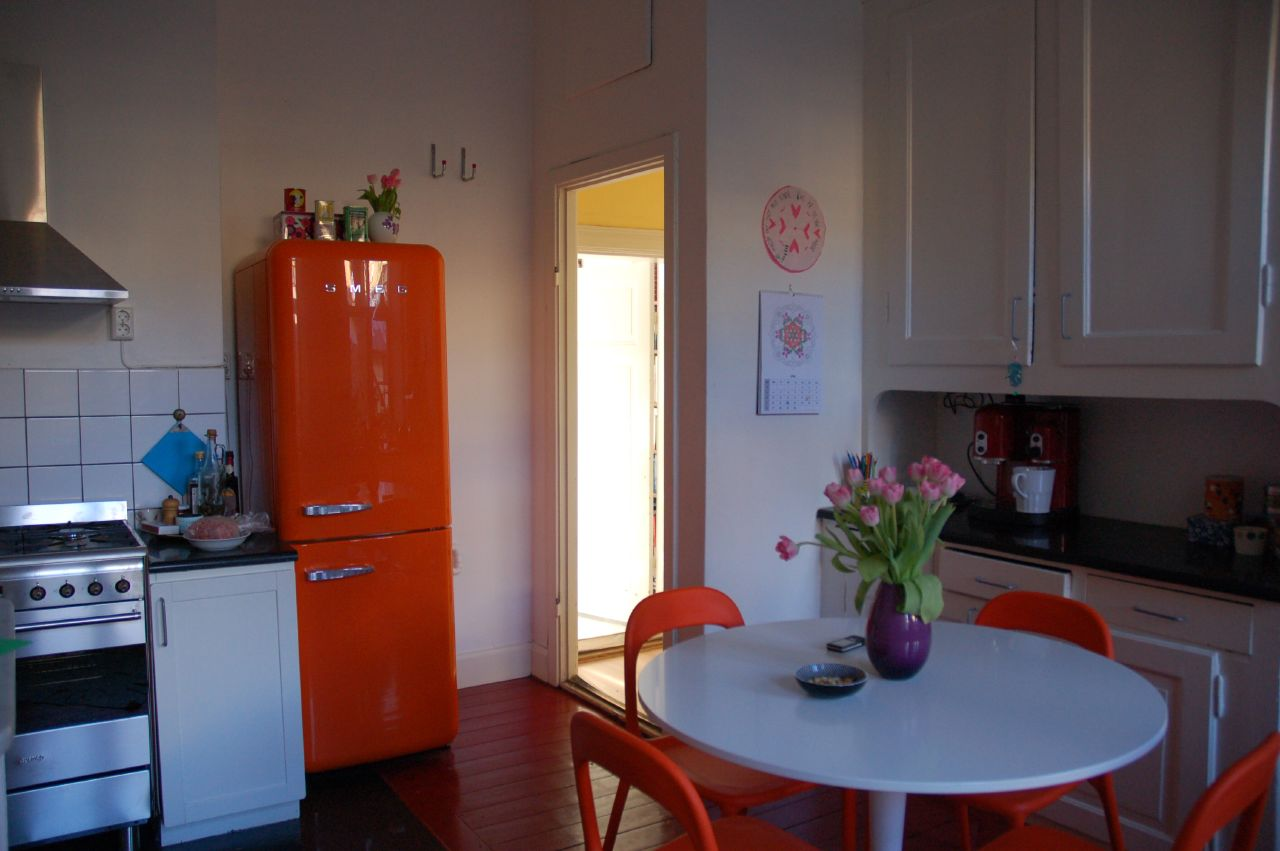 retro smeg kitchen orange and white