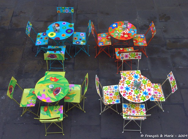 Covent Garden colorfull tables