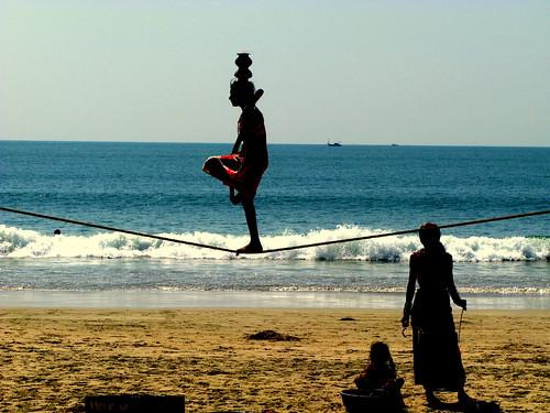Tightrope Walker, Palolem, Goa, India